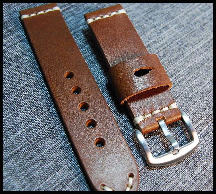 Prix pour 22mm Main-fait Mens Véritable Cuir Bracelet de Montre De Bande En Acier Inoxydable Boucle