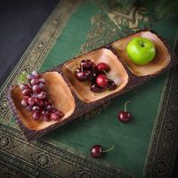 Candy tray wood dry fruit tray biomimicry compotier fruit plate