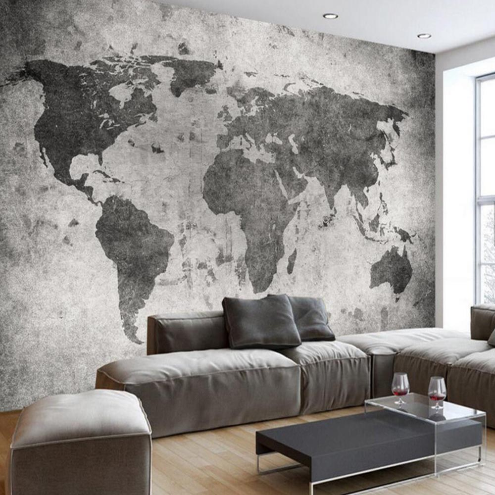 European Vintage Retro World Map Wall Bar Coffe Shop Murals Photo Wallpaper Landscape