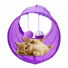 Home Garden - Pet Products - ASLT Foldable Polyester Fabric Pet Tent Tool Cat Tunnel Passageway With Ring Bel