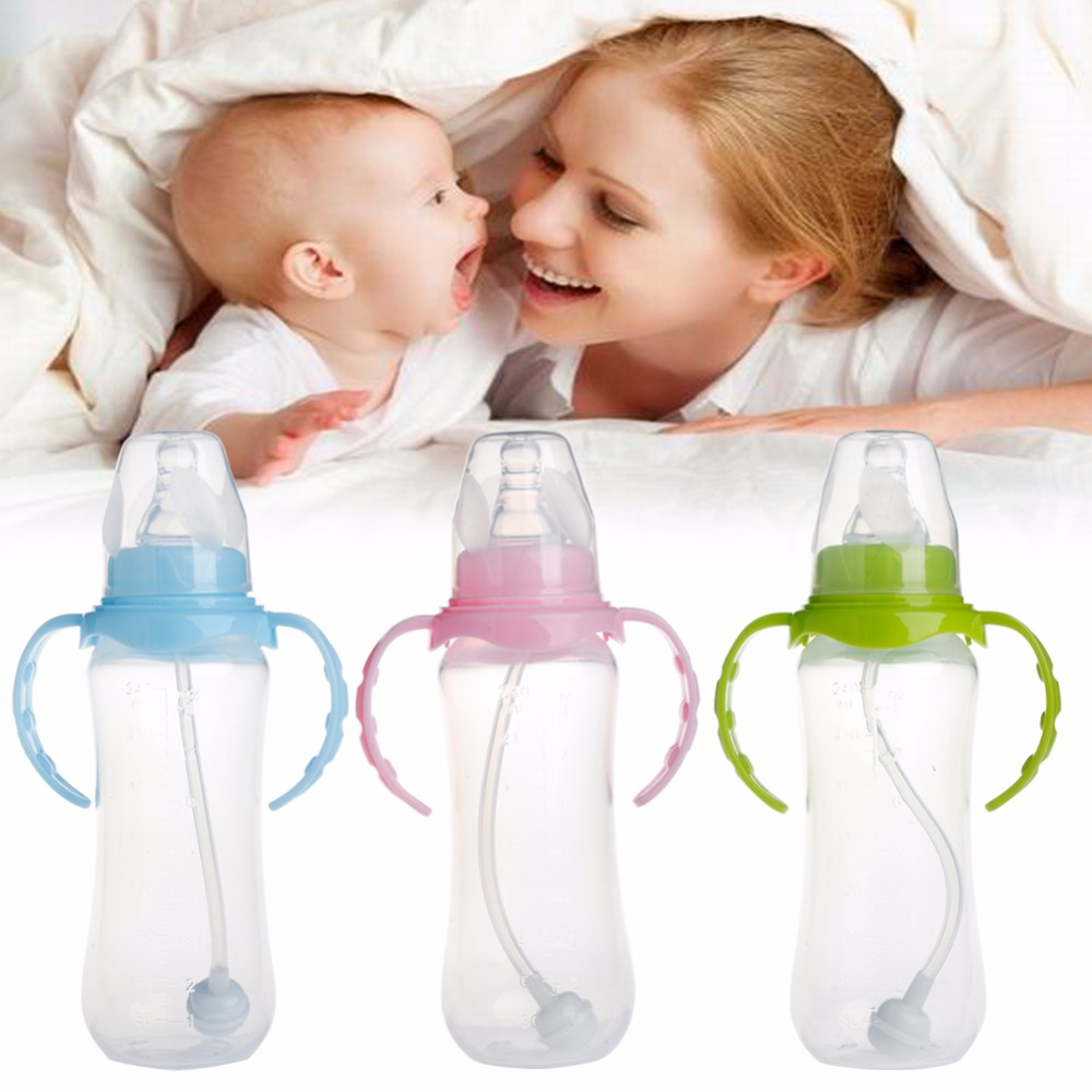 1Pc 240ML Standard Neck Anti-colic Baby Infant Milk Feeding Nipple Bottle Nurser
