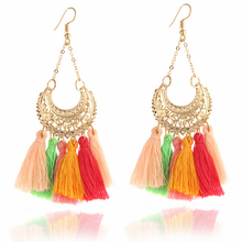 E069 Ethnic Long Tassel Earring For Women Bohemia Style Drop Earring High Quality Party Wedding Jewelry Dropshipping Wholesale