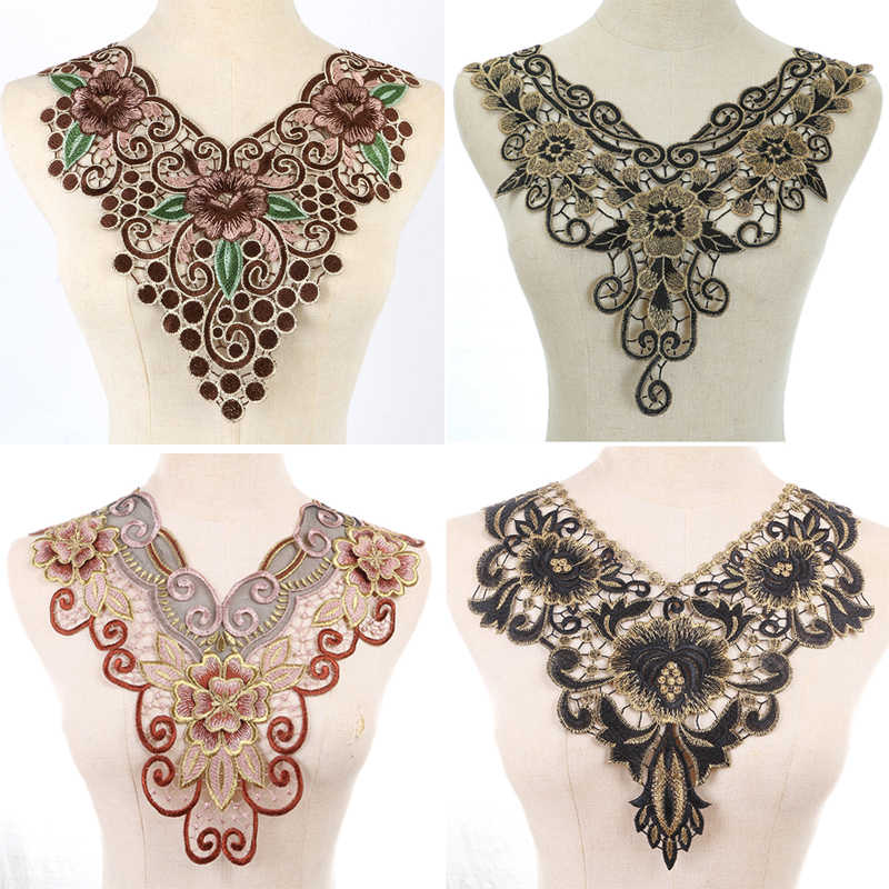 1pcs  Colorful Embroidered Lace Collar Organza Neckline Collar Venise Applique Embroidery Patches Sewing Accessories
