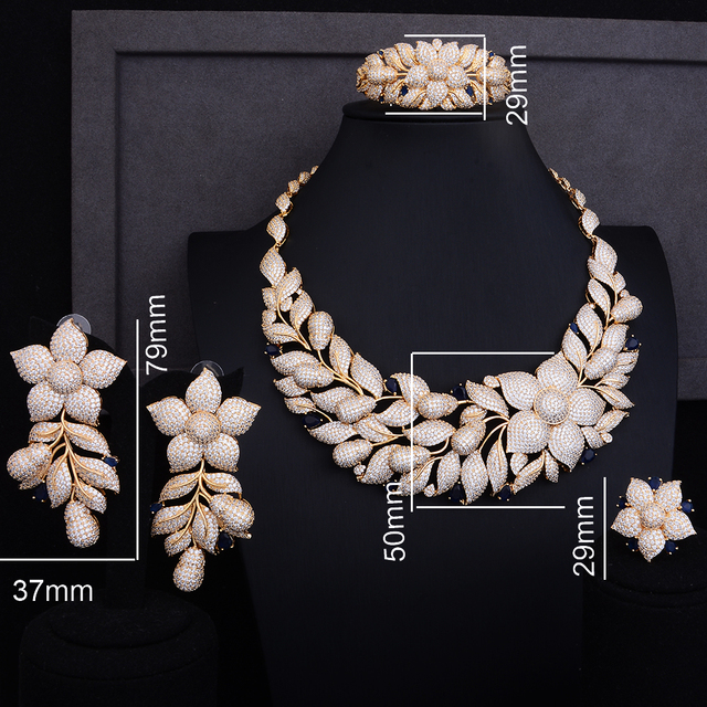 Luxury Rose Flower Cluster Floral 2 Tone Wedding Jewelry Set 1