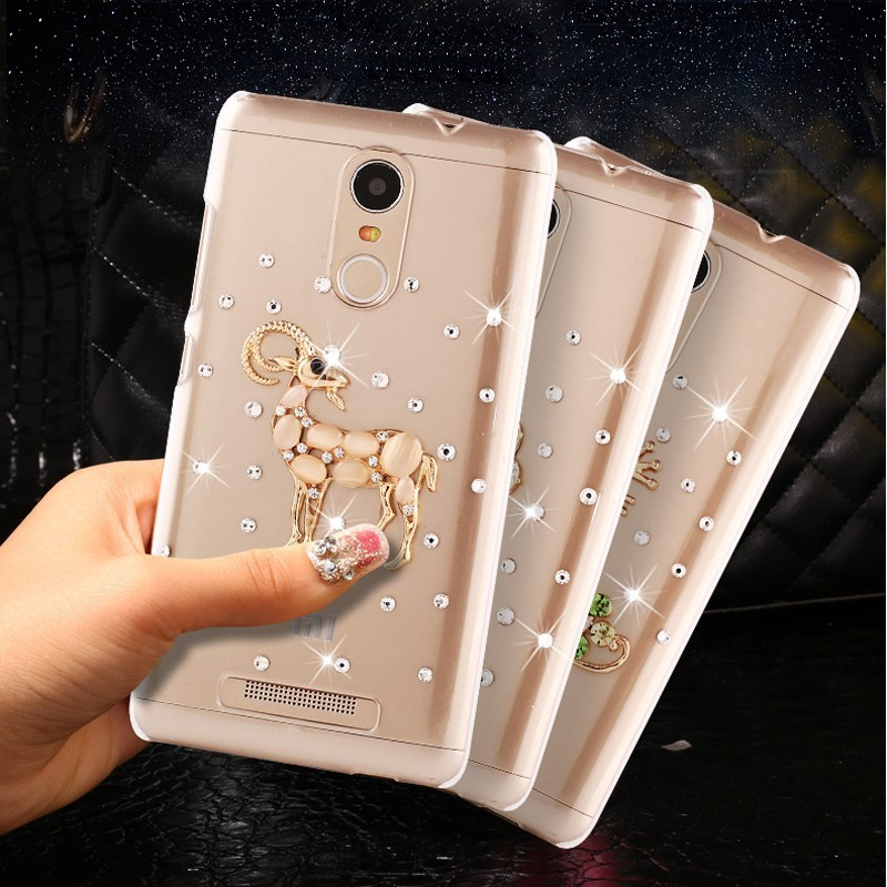 Newest Fashion Blue Butterfly Flowers Rhinestone Case For Xiaomi Mi3