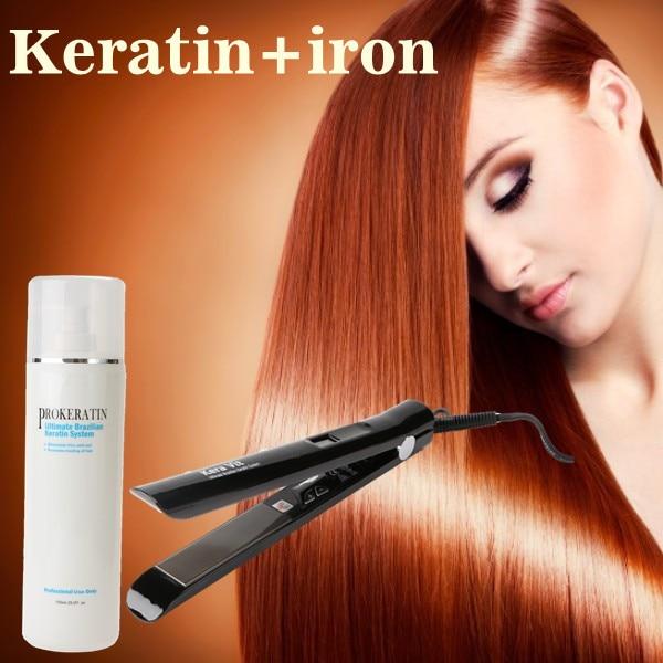 Hight Quality 750ml Brazilian keratin treatment straighten hair product +hair flat iron and smoothing hair