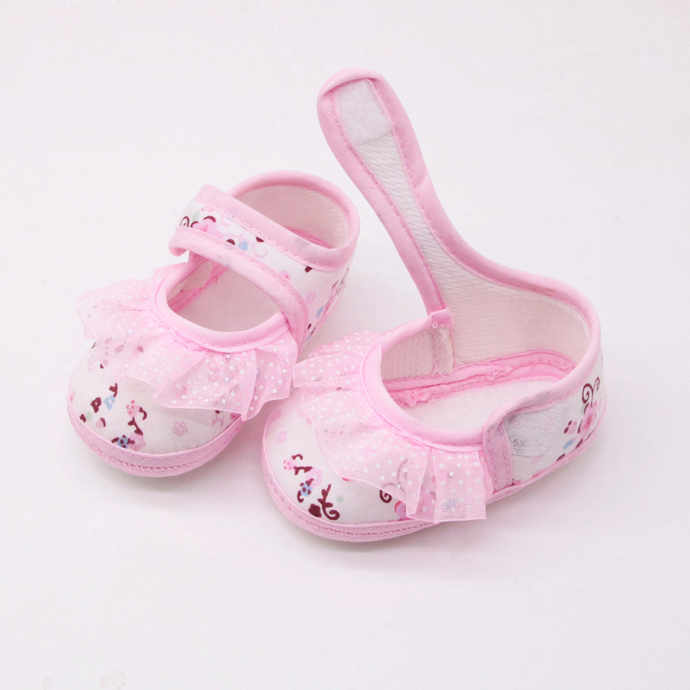Baby Shoes Footwear First-Walkers Floral-Printed Girls Kids Lace for -K8 Soled