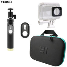 Waterproof Case + Self Stick + Camera Bag Bluetooth Remote Control 3in1 kit for Xiaomi Yi 4K 2 Action Camera Accessories(China)