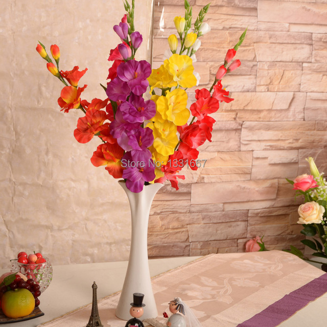 75cm simulation artificial flowers gladiolus silk flower butterfly