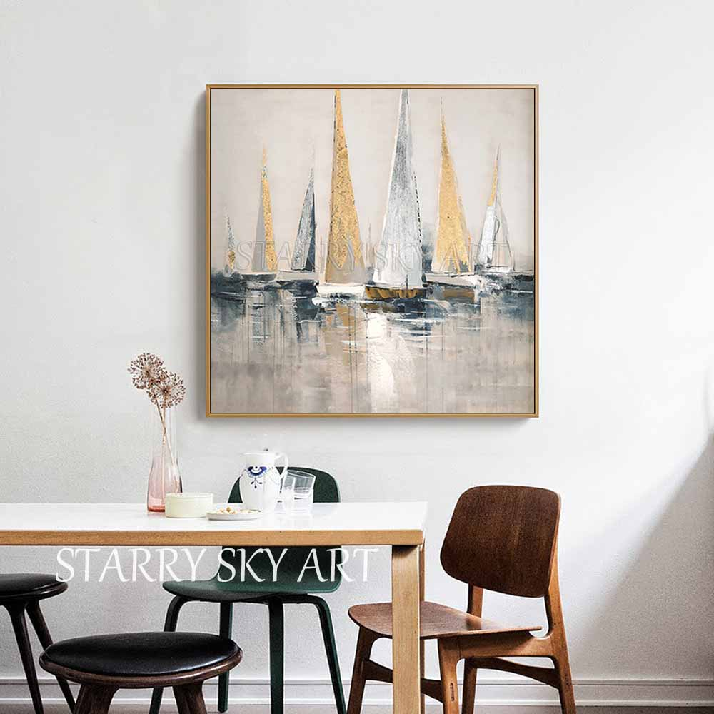Image 3 - Skilled Artist Hand painted High Quality Golden Foil Abstract  Boats Oil Painting Wall Fine Art Abstract Landscape Boats  PaintingPainting
