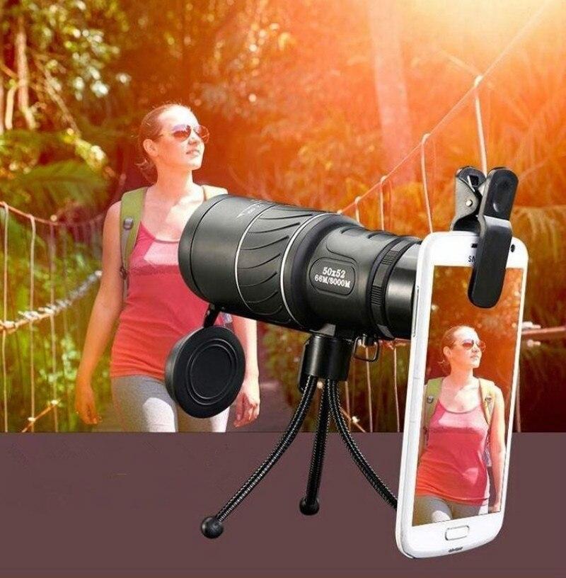 Купить с кэшбэком 50X52 HD Monocular Telescope Dual Focusing Adjustment Binocular Spotting Scope for Hunting Watching Bird Outdoor Sport hiking