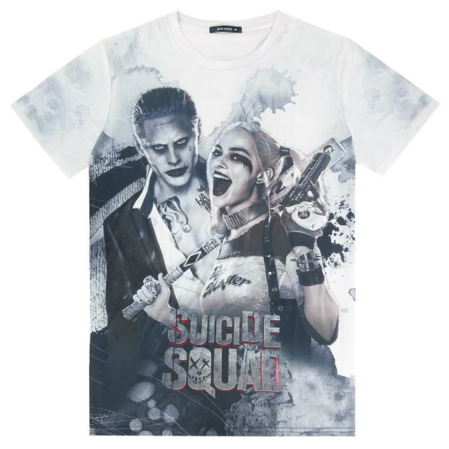 Suicide Squad Mens Harley Quinn Joker 3D T Shirt Top Short Sleeve