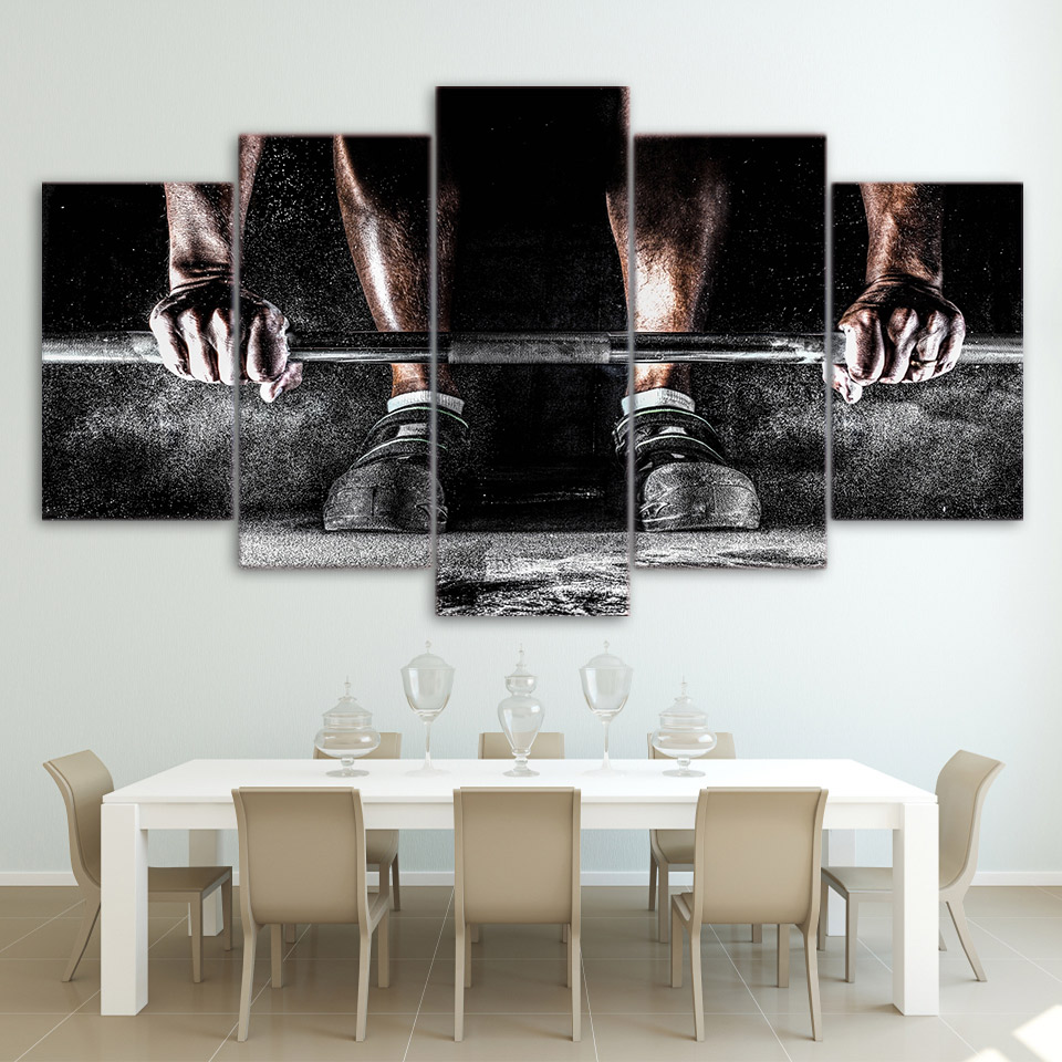 Home Decor Paintings On Canvas HD Printed 5 Pieces Weightlifting Sports Modular Vintage Pictures Wall Art For Living Room