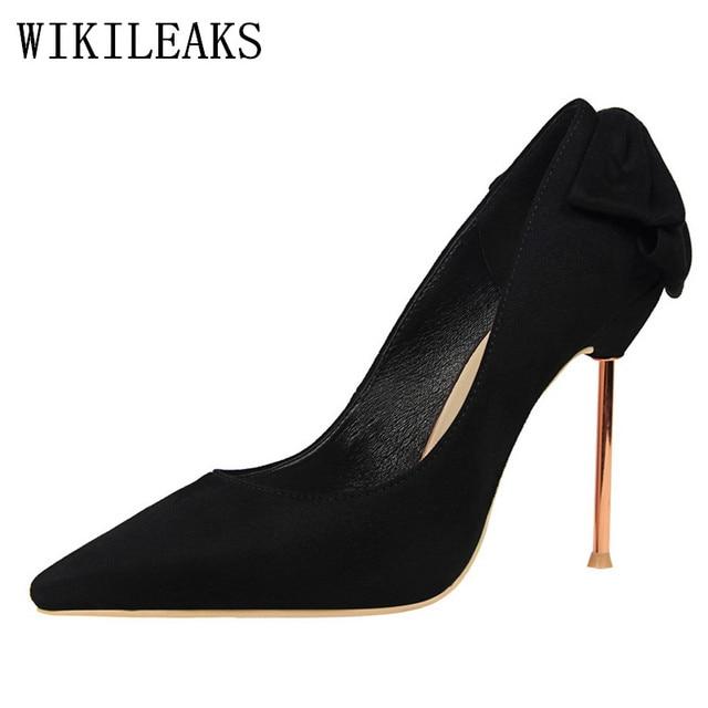 purchase cheap b5b12 cf7df US $19.87 49% di SCONTO|Butterfly nodo gregge estremo tacchi alti donne  scarpe da sposa di lusso di marca scarpe pompe bigtree tacones stiletto  fetish ...