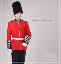 England Royal guard soldier costume stage British guard court Garment drumming Chorus Outfit red guard clothing