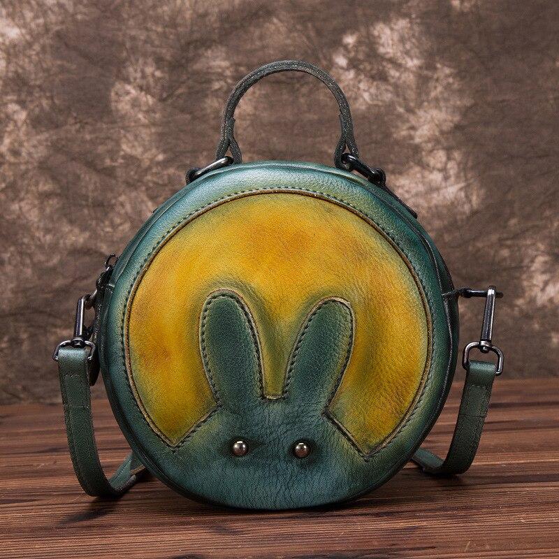 Peau naturelle épaule Messenger circulaire sacs motif de lapin petites filles mignon fourre-tout sac à main en cuir véritable femmes Top poignée sac - 4