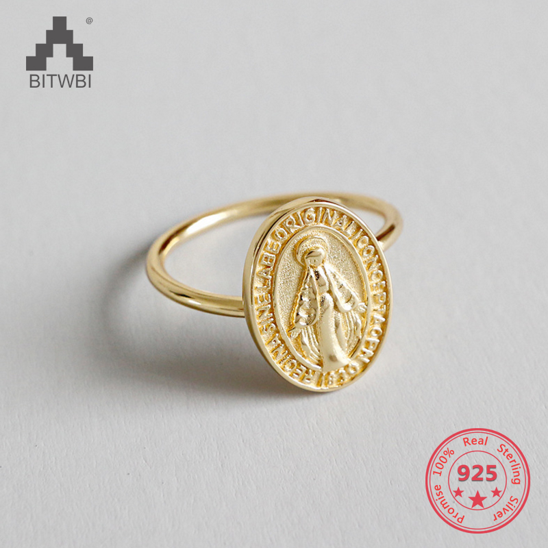925 Sterling Silver Golden Virgin Mary Medal Open Index Finger Ring925 Sterling Silver Golden Virgin Mary Medal Open Index Finger Ring