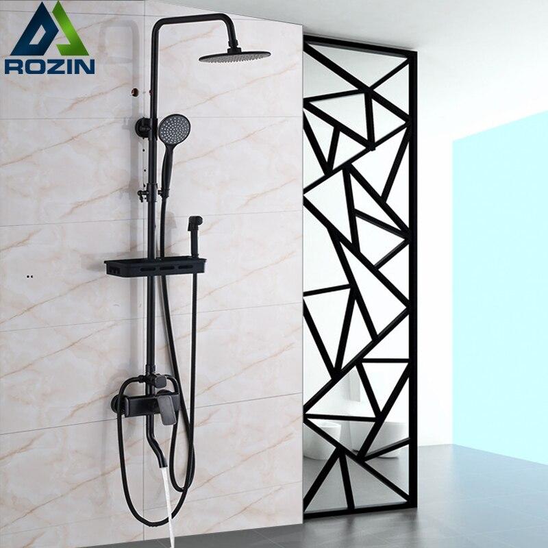 Newly Bathroom Shower Mixer Faucet with Storage Basket One Lever Brass Bidet Head 8Rain showerhead Handshower Rotate Tub Spout