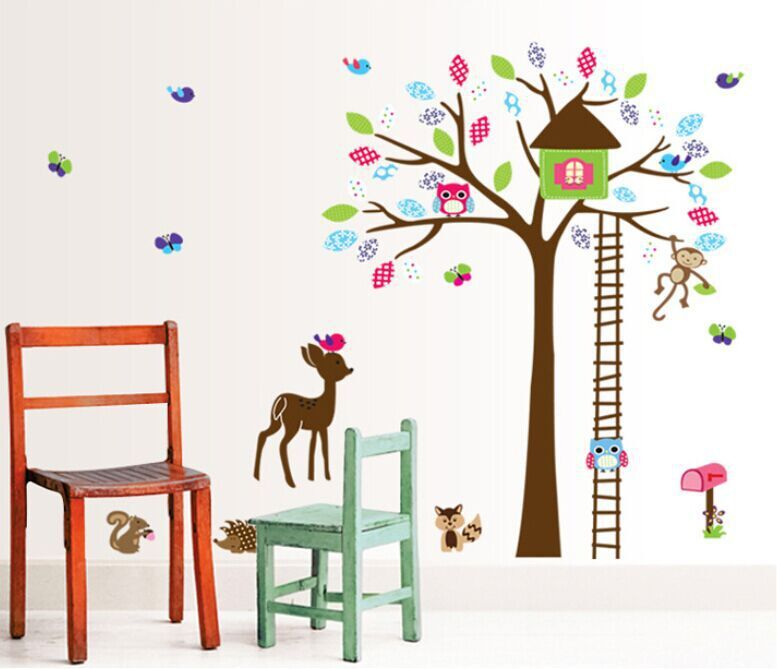 4 Cute Monkeys Wall Decals Sticker Nursery Decor Mural: Cartoon Cute Owl Monkey Deer Colorful Tree Art DIY Wall
