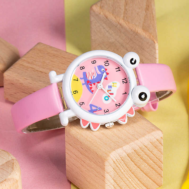 KDM 2019 חמוד יפה ילדים שעוני יד לילדים שעון ילדי ילדה בנים שעונים קריקטורה דינוזאור עמיד למים עור תלמידי שעון