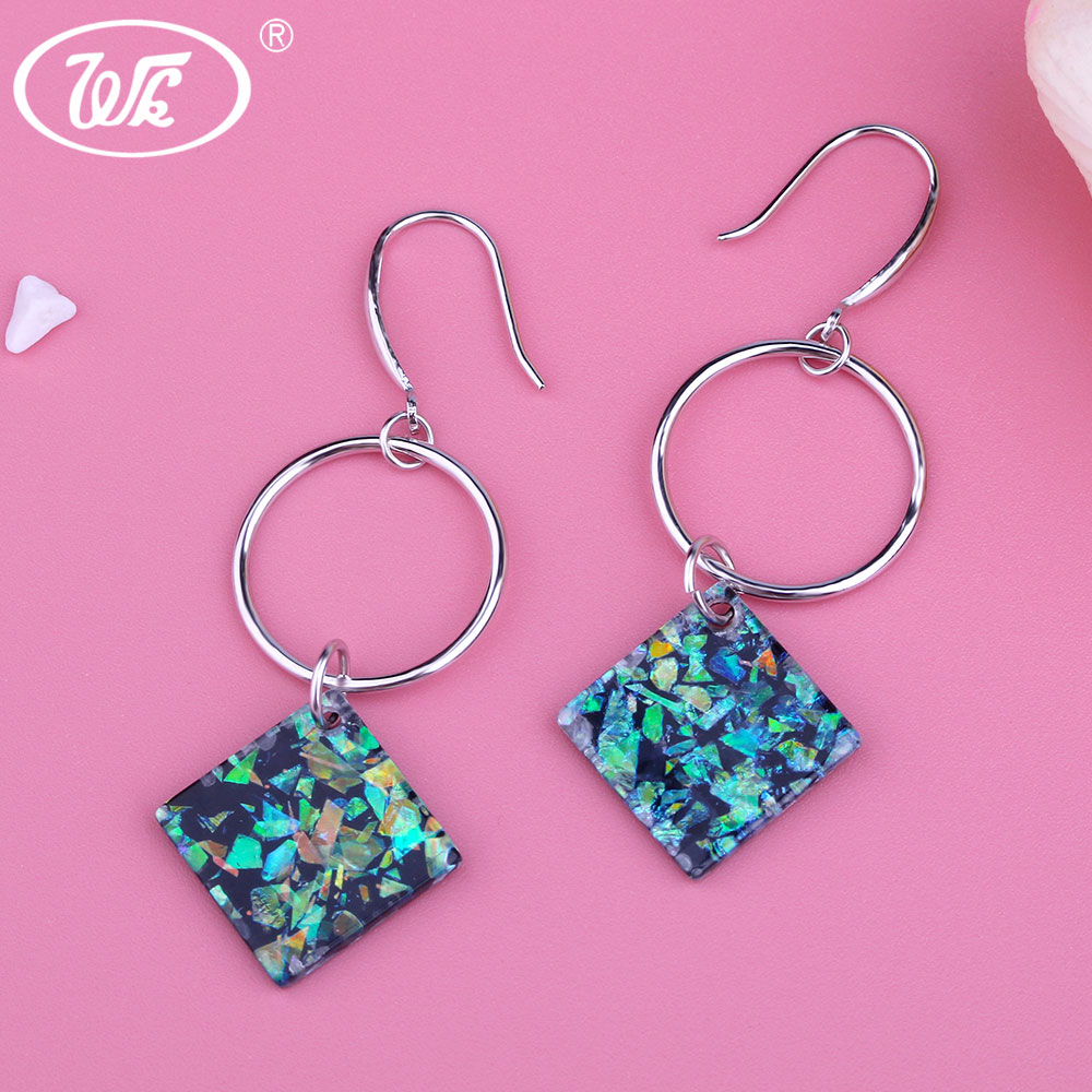 все цены на WK NEW 925 Sterling Silver Womens Bohemian Geometric Round Circle Wooden Boho Square Long Drop Earrings For Party Gift W4 EB096