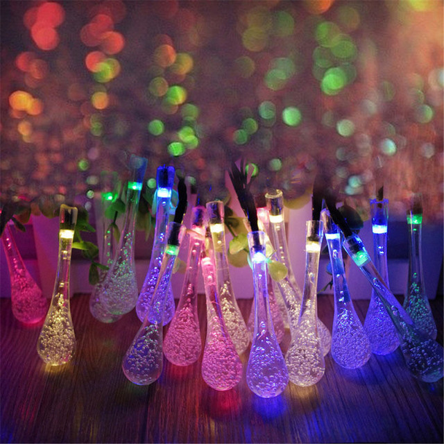 Solar Powered 20led String Spot Light Water Drop Cover Christmas