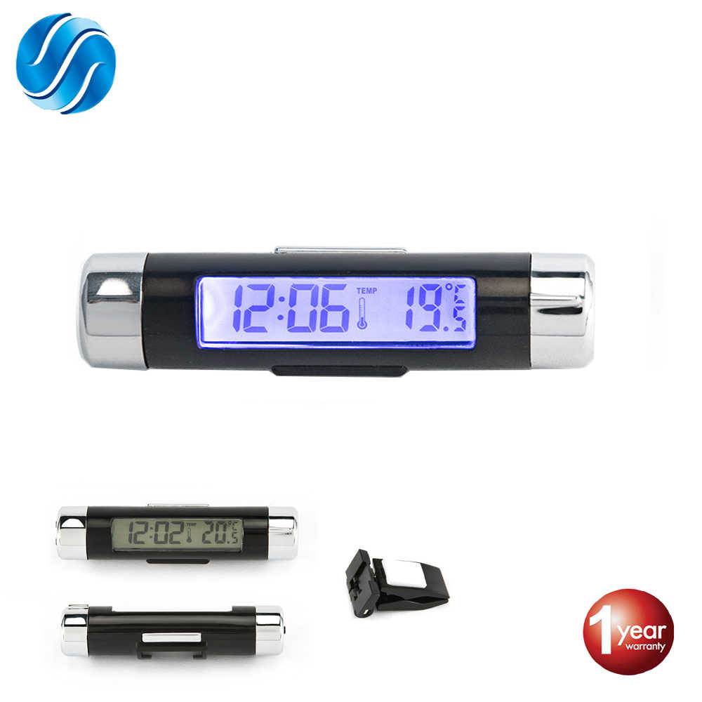 Car Digital LCD Clock & Temperature Display Car Automotive Electronic Clock Thermometer Portable 2in1 Clip With Blue Backlight