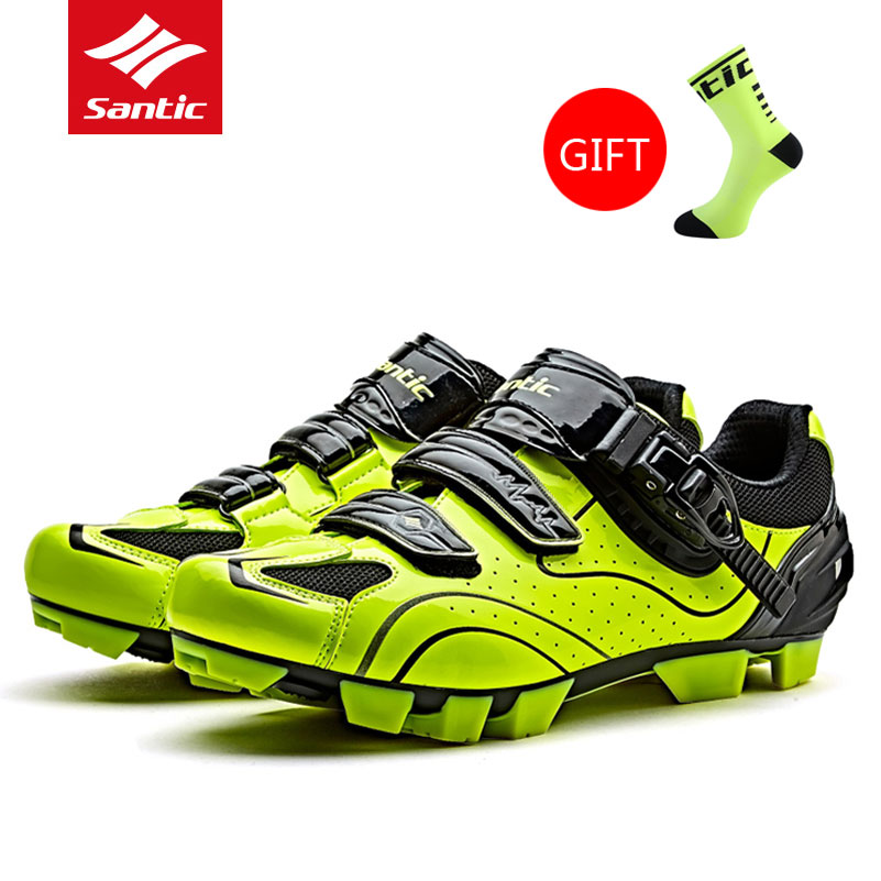 Hot Santic Mens Cycling Shoes MTB Mountain Bike Pro Racing Team Breathable Bicycle Self Locking Athletic