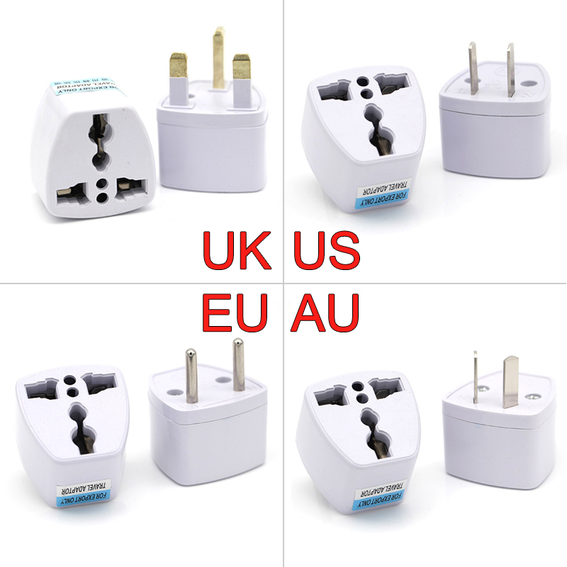 1PC Universal UK US AU To EU AC Power Socket Plug Travel Electrical  Wall AC Power Charger Adapter Converter Outlet 2 Round Pin