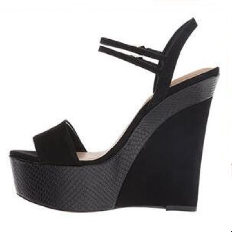 De 14 Alto Shofoo Zapatos Sandalias Cuñas Gratis Rebaño Tacón Hermosa Envío Cm Mujeres Las Negro 5 Moda 51xAC0wqx