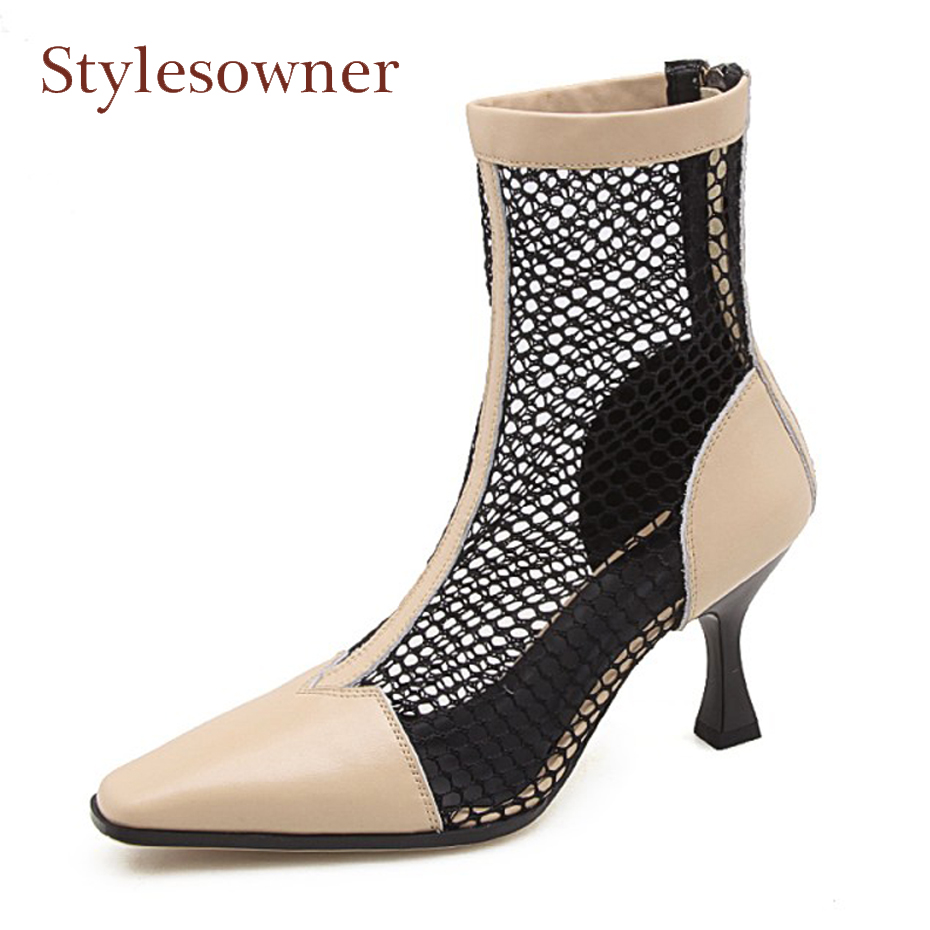 Stylesowner new design summer shoes mesh mix real leather ankle boots women sexy pointed toe thin heel sandals boots femininos