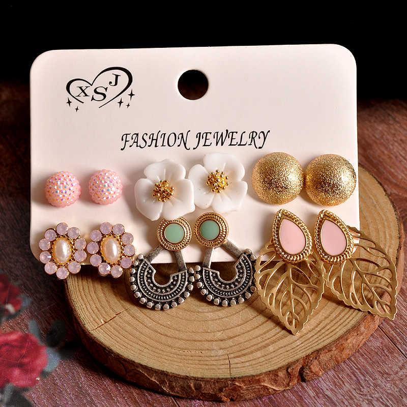 新ファッション女性のジュエリー卸売誕生日パーティー真珠の花の耳スタッドセットマッシュアップボヘミアン 6 ペア/セットイヤリング