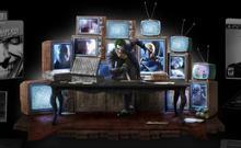 Batman Joker statue scene TV wall light box g scene model toys
