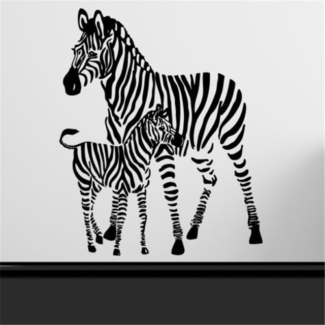 B15 Zebra Muur Art Sticker Animal Print Strepen Safari Slaapkamer ...