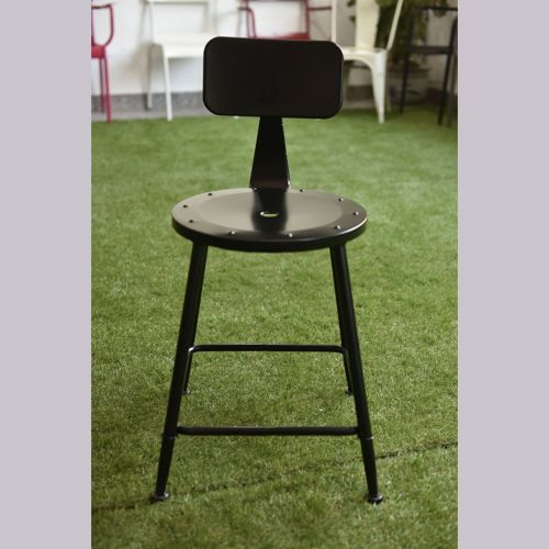 Conscientious Industrial Chic Metal Round Seat Adjustable Height Bar Stool With Curve Backrest Furniture