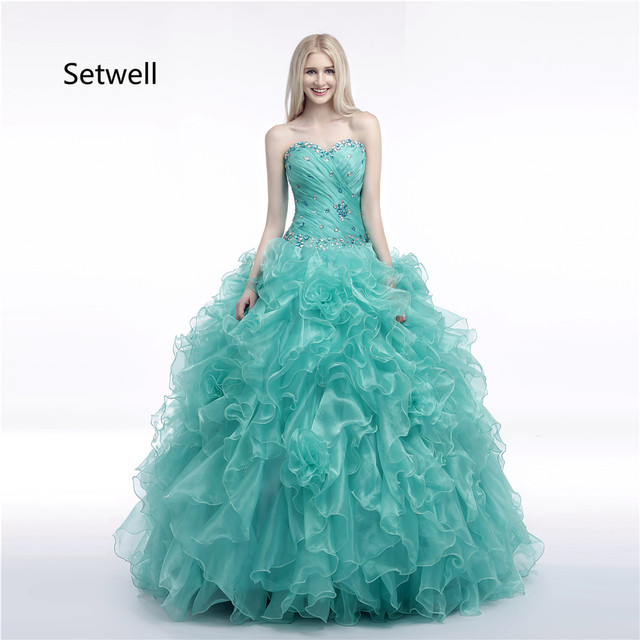 3f9b8dc4f77 Setwell Unique Quinceanera Dresses Shining Crystal Strapless Lace Up Back Quinceanera  Gowns Custom Made Quinceanera Dress