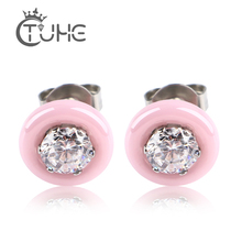 Round Pink Black White Ceramic Stud Earrings For Women AAA Big Crystal CZ Jewelry Wedding Wholesale