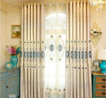 Luxury white Embroidery Blackout Window Curtains For Living room Bedding room Golden Cortinas para sala