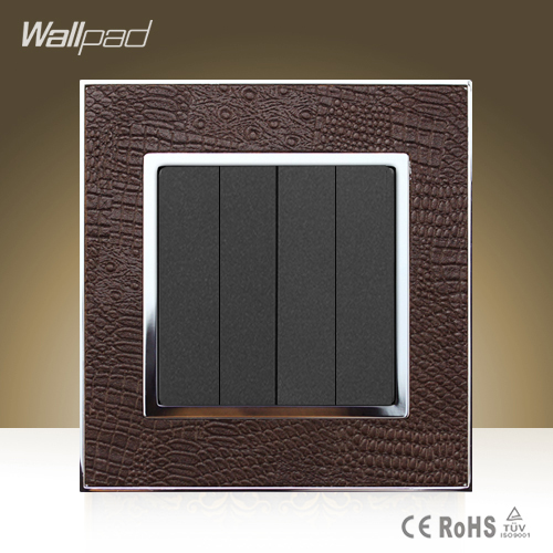 Wallpad Hotel Modula 4 Gang 1 Way Switch Goats Brown Leather 110V-250V Electric 4 Gang Push Button Light Switch Free Shipping free shipping new fashion carving patterns design electric wall light switch 1 gang 1 way from manufacturer supplier 100 250v m