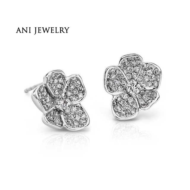 1c84bbc4a ANI 18K White Gold (AU750) Women Earrings 0.97 CT Certified I/S2 Natural