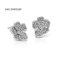 ANI 18K White Gold (AU750) Women Earrings 0.97 CT Certified I/S2 Natural Diamond Flower Stud Earring for Lady Engagement Jewelry