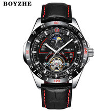 Mens Automatic Mechanical Watch Men Fashion Top Brand Sport Watches Tourbillon BOYZHE Stainless Steel Relogio Masculino