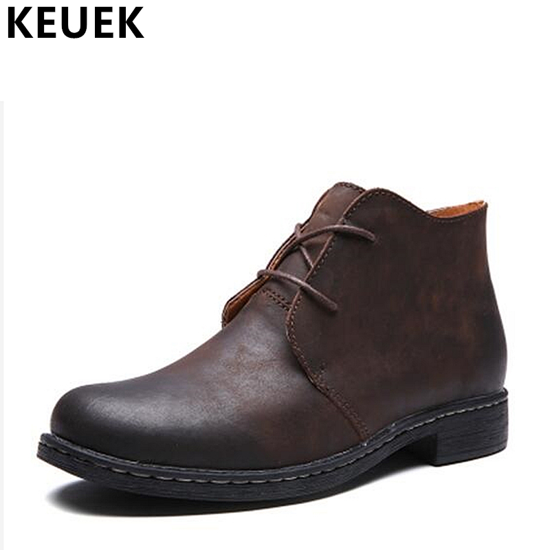 Genuine leather Martin boots British style Men Tooling boots Lace-Up Ankle Desert Boots Autumn Winter Outdoor Military boots 033 men s desert military boots touch guy cow suede genuine leather ankle martin boot