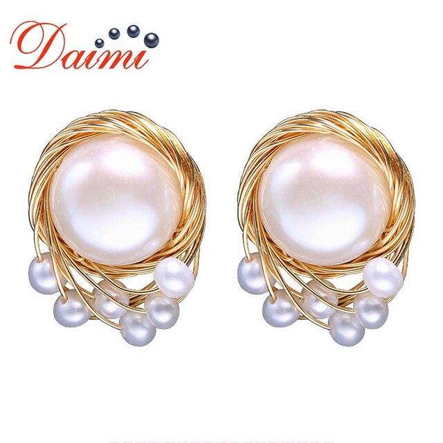c1dbe581eca3c DAIMI Vintage Pearl Earrings Handmade Jewelry 13-14mm Large Freshwater  Pearl Studs Earrings Luxury Jewelry