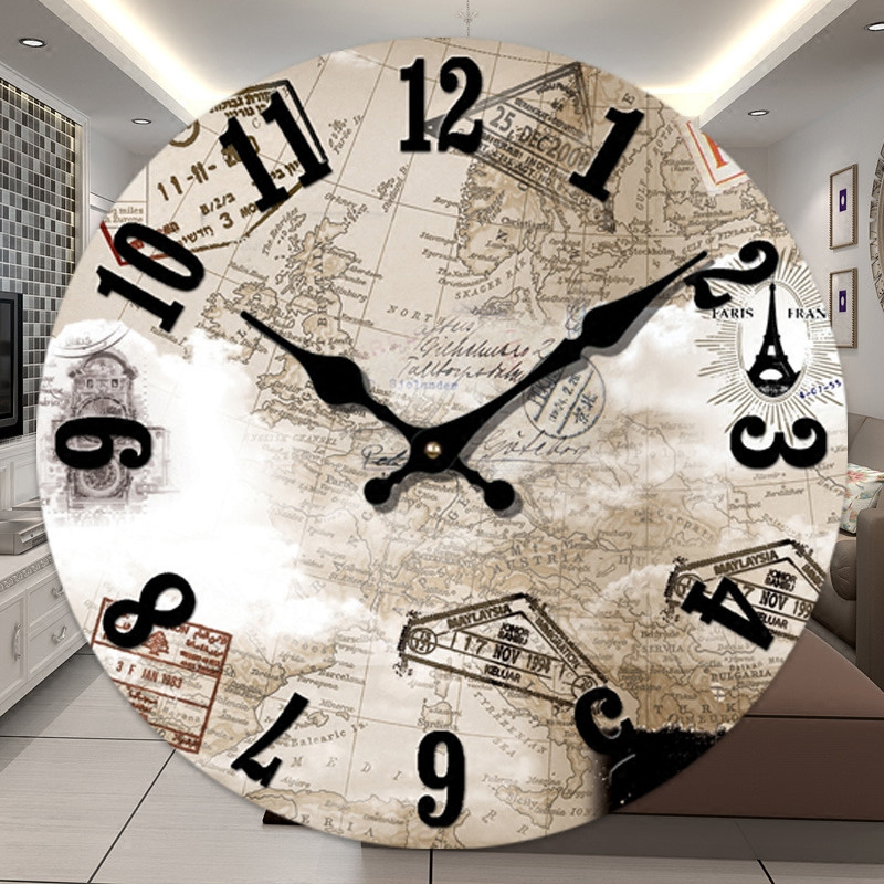 Paris eiffel tower wall clock world map vintage wooden wall clocks paris eiffel tower wall clock world map vintage wooden wall clocks living room 14 inch large quartz wall watches in wall clocks from home garden on gumiabroncs Images