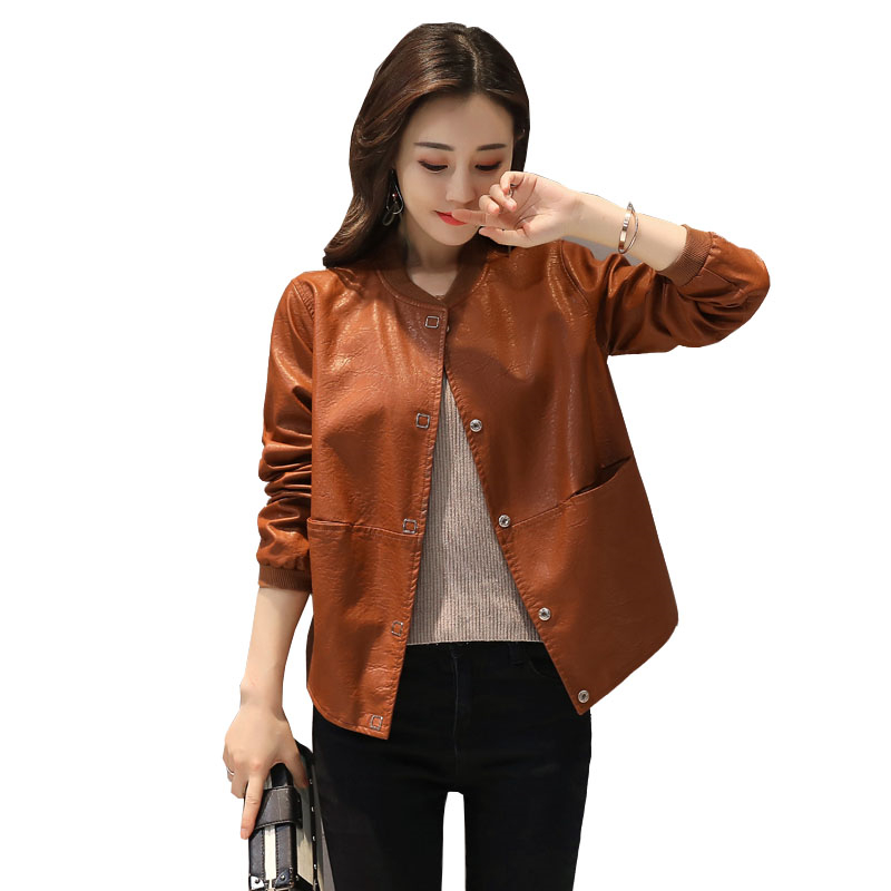 Autumn And Winter Coat Locomotive Style Big Size Leather Women's Jacket Loose Large Size PU Spliced Female  Leather Clotring 455