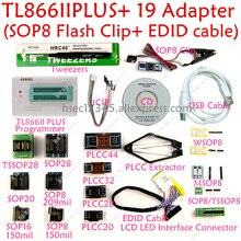مبرمج جديد XGecu tl866ii plus usb + 19 محول SOP8 مشبك minipro TL866 مبرمج عالمي CH341A/EZP2010/EZP2013 مبرمج