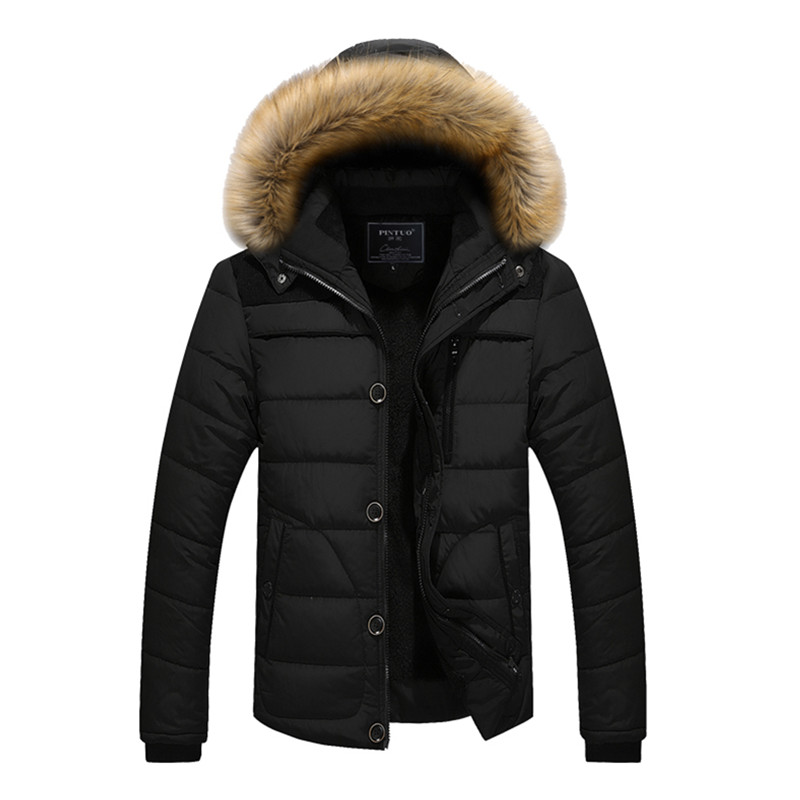 Men's Winter Fashion Plus Size Artificial Cotton Down Jacket Fur Collar Hooded Coat For Man Short Style Ultralight Leisure