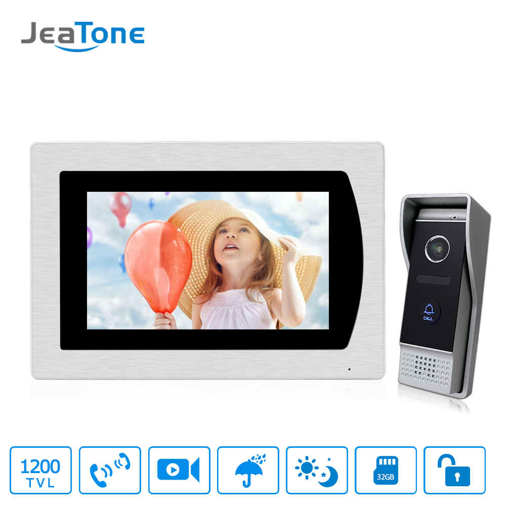 7 Touch Screen Video Door Phone Intercom Speaker Doorbell 4-Wired Waterproof Home Intercom System Unlocking Motion Detection jeatone 4 inch 4 wired door phone video intercom doorbell home security camera system waterproof motion detection on door panel