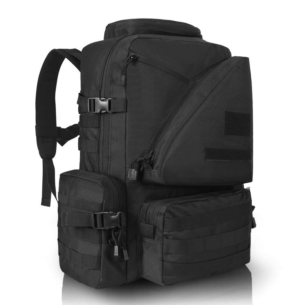 Sac à dos d'assaut tactique MOLLE 45L grand sac à dos militaire militaire résistant à l'eau noir avec compartiment pour ordinateur portable pour la randonnée